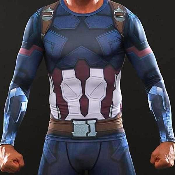 Captain America Infinity War Long Sleeve Dry-Fit Shirt