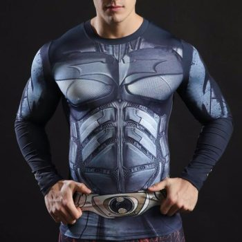 Batman Combat Armor Long Sleeve Dry-Fit Shirt