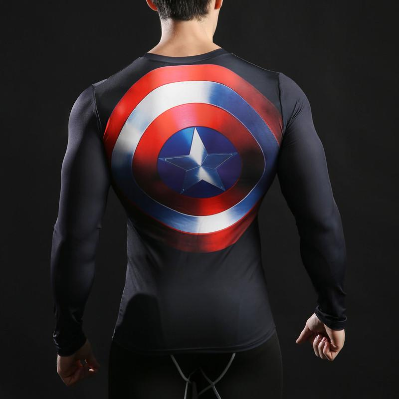 Captain America Long Sleeve Dry-Fit Shirt