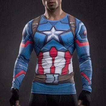 Captain America Shield Long Sleeve Dry-Fit Shirt