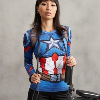 Captain America Women's Long Sleeve Dry-Fit Tee